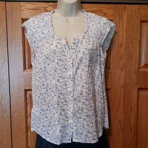 Eddie Bauer floral button cap sleeve blouse